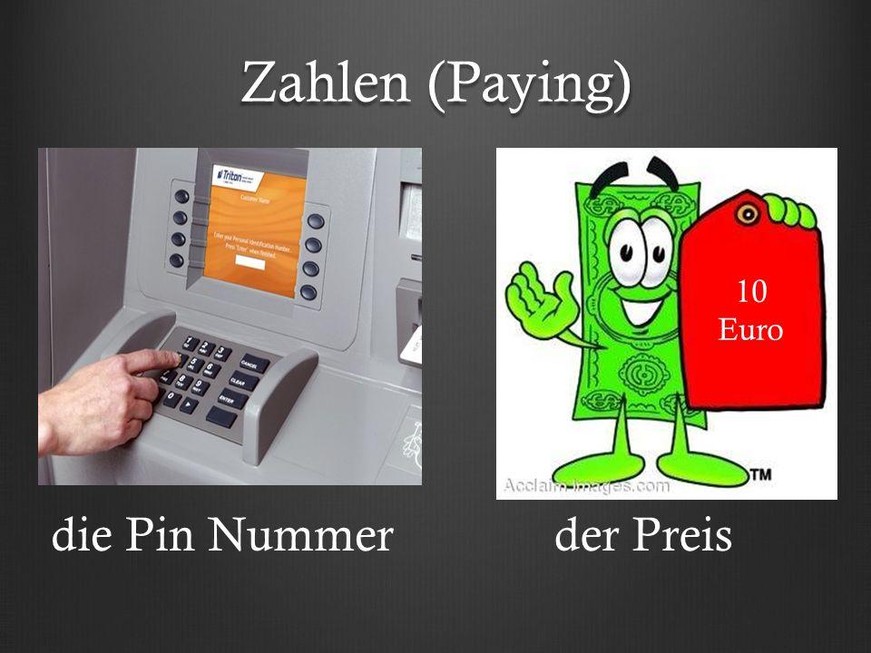 Zahlen (Paying) die Pin Nummerder Preis 10 Euro