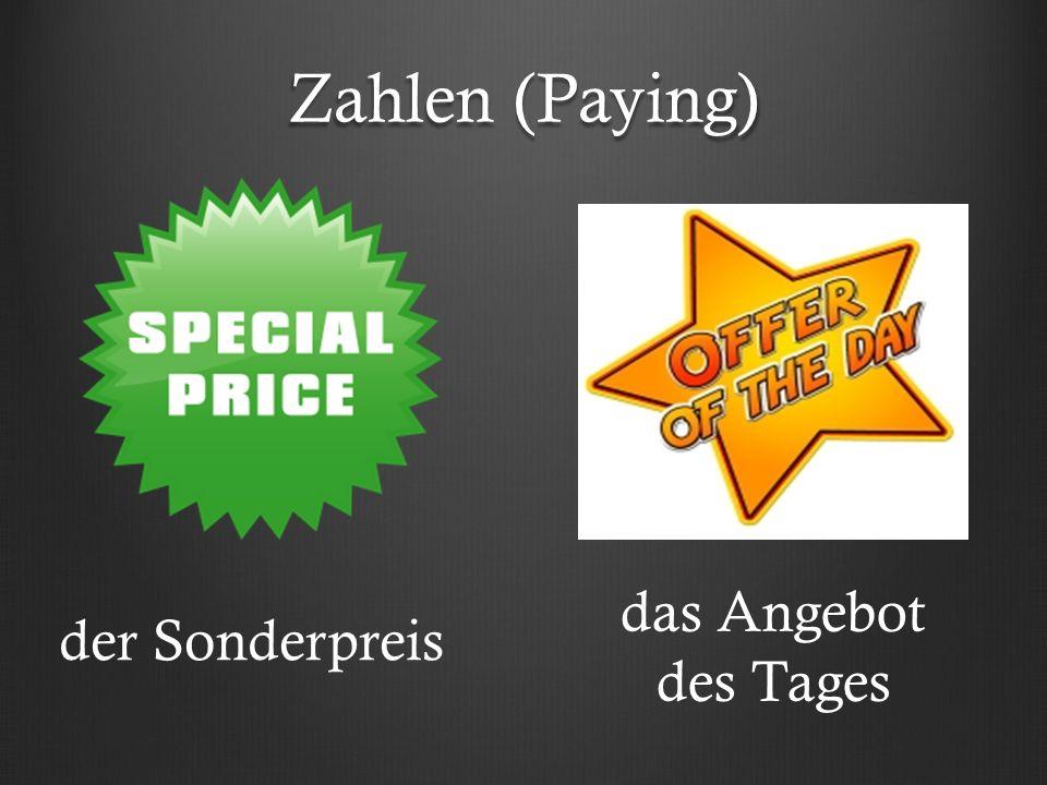 Zahlen (Paying) der Sonderpreis das Angebot des Tages