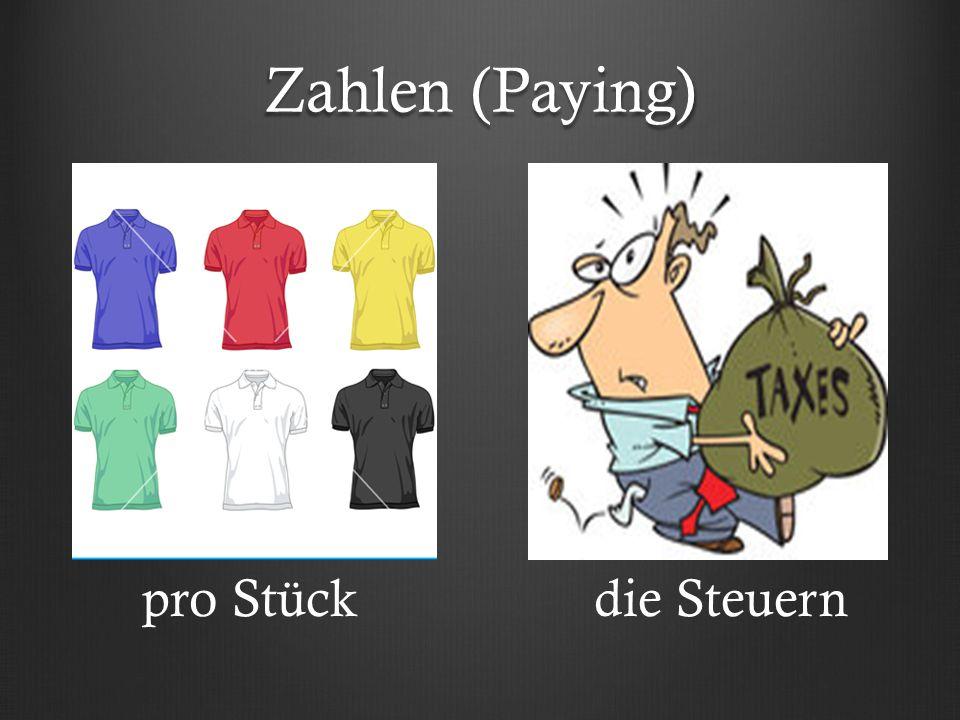 Zahlen (Paying) pro Stückdie Steuern