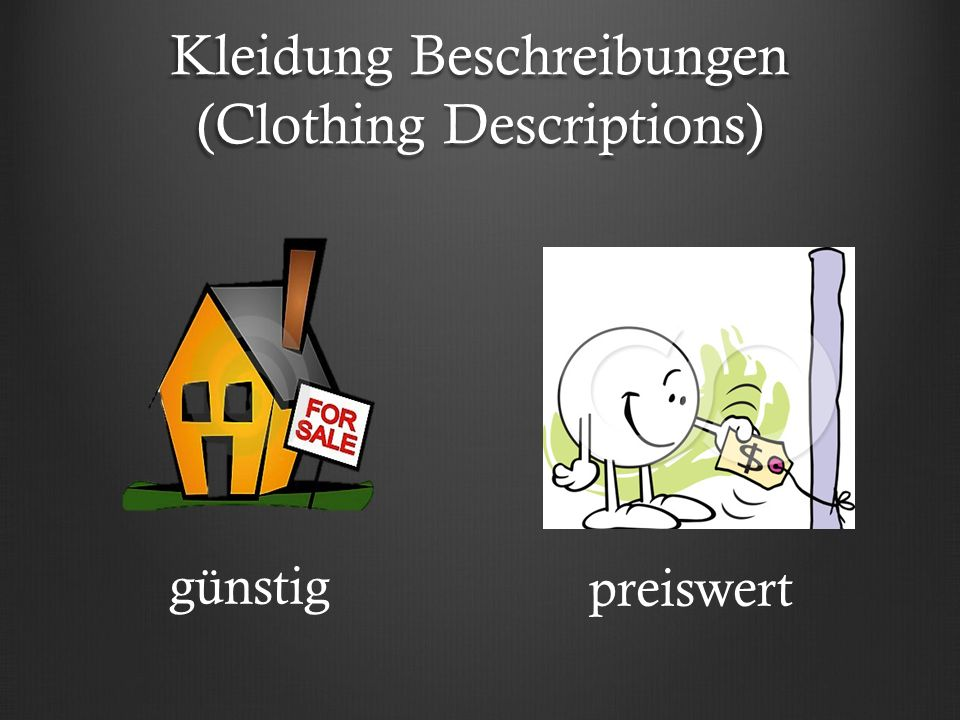 Kleidung Beschreibungen (Clothing Descriptions) günstig preiswert