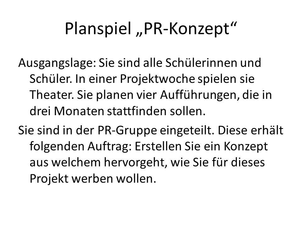 Planspiel PR-Konzept Ausgangslage: Sie sind alle Schülerinnen und Schüler.