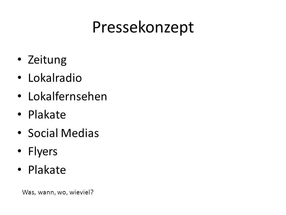Pressekonzept Zeitung Lokalradio Lokalfernsehen Plakate Social Medias Flyers Plakate Was, wann, wo, wieviel