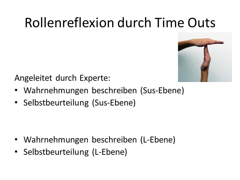 Rollenreflexion durch Time Outs Angeleitet durch Experte: Wahrnehmungen beschreiben (Sus-Ebene) Selbstbeurteilung (Sus-Ebene) Wahrnehmungen beschreiben (L-Ebene) Selbstbeurteilung (L-Ebene)