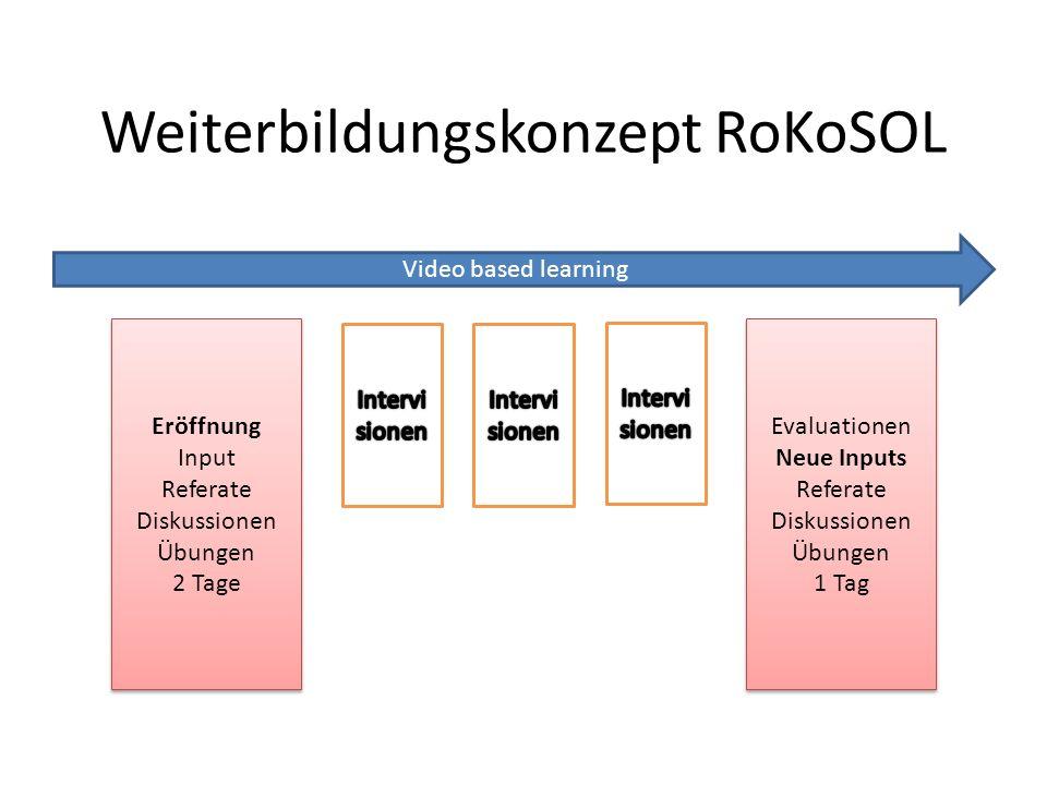 Weiterbildungskonzept RoKoSOL Video based learning Eröffnung Input Referate Diskussionen Übungen 2 Tage Eröffnung Input Referate Diskussionen Übungen