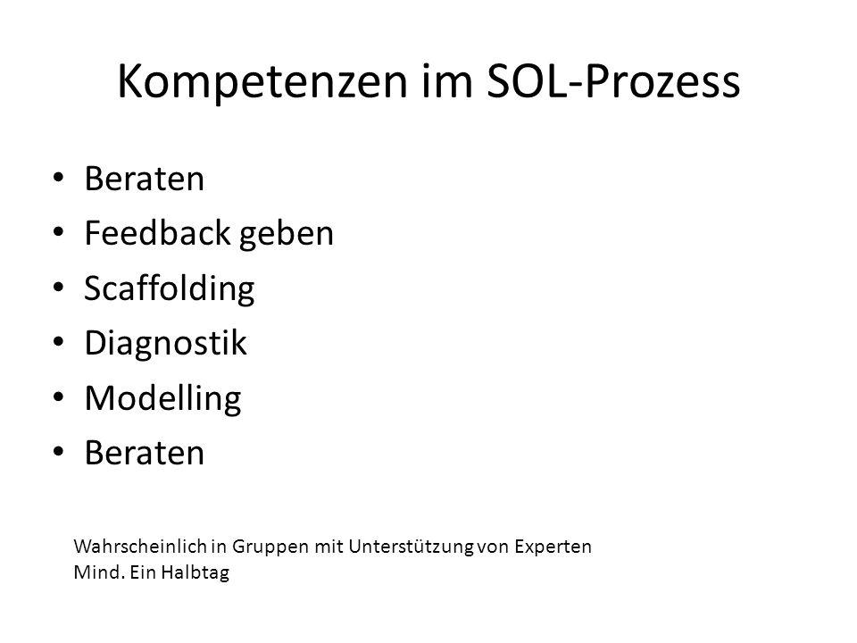 Kompetenzen im SOL-Prozess Beraten Feedback geben Scaffolding Diagnostik Modelling Beraten Wahrscheinlich in Gruppen mit Unterstützung von Experten Mi