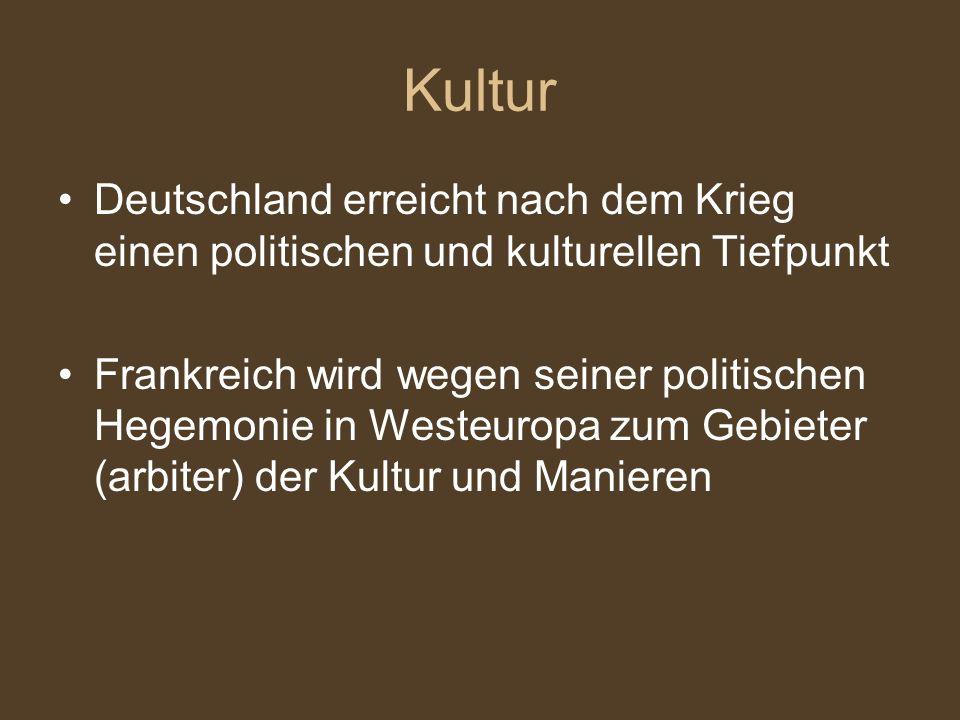 Der Krieg zerstörte die Macht der deutschen Städte Statt (instead of) der nüchternen (sober) Bürger, herrschten elegante und gallizierte Aristokraten Anfang des Barockstils
