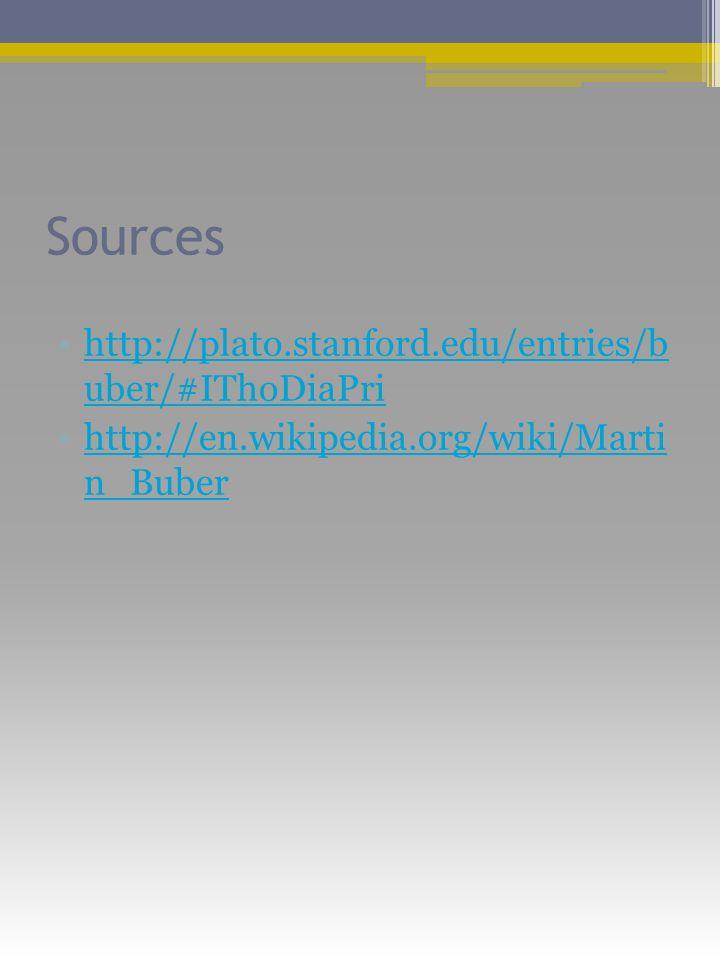 Sources http://plato.stanford.edu/entries/b uber/#IThoDiaPrihttp://plato.stanford.edu/entries/b uber/#IThoDiaPri http://en.wikipedia.org/wiki/Marti n_Buberhttp://en.wikipedia.org/wiki/Marti n_Buber