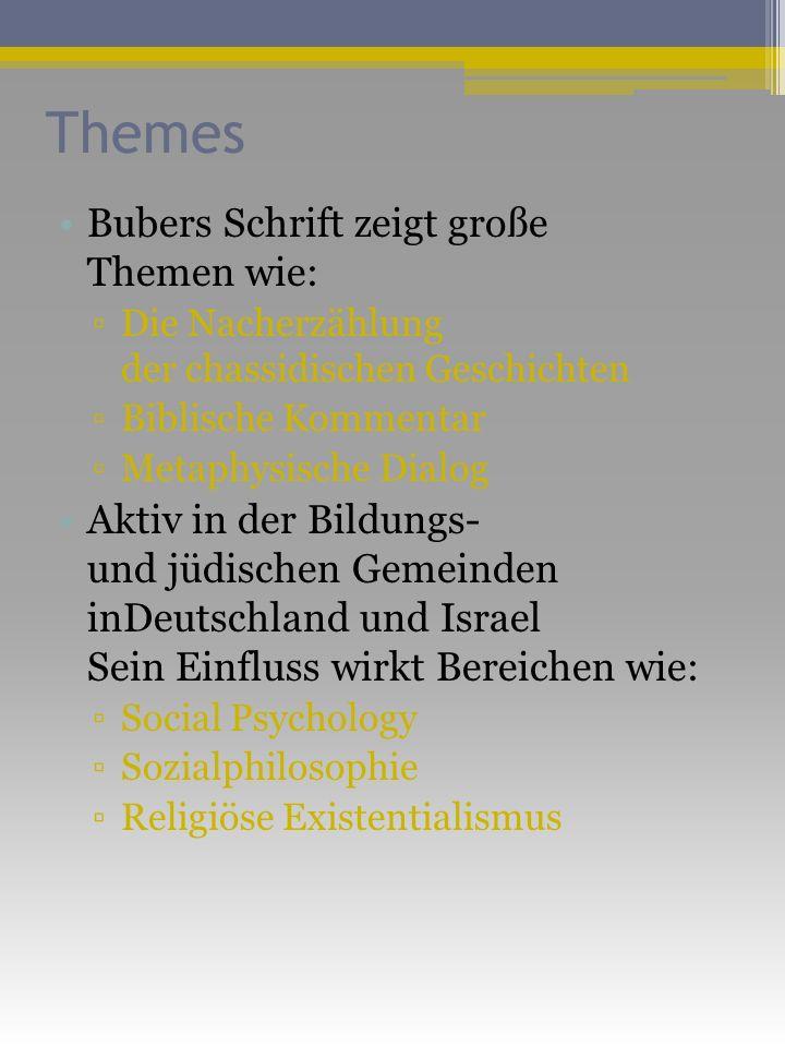 Themes Bubers Schrift zeigt große Themen wie: Die Nacherzählung der chassidischen Geschichten Biblische Kommentar Metaphysische Dialog Aktiv in der Bildungs- und jüdischen Gemeinden inDeutschland und Israel Sein Einfluss wirkt Bereichen wie: Social Psychology Sozialphilosophie Religiöse Existentialismus