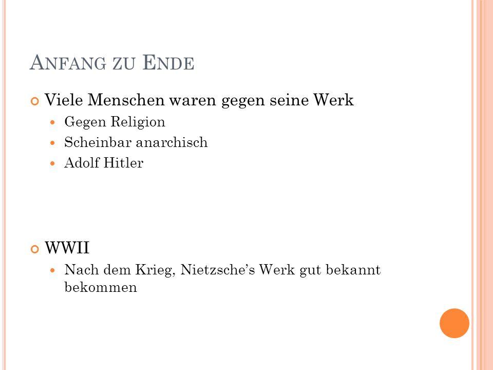 A NFANG ZU E NDE Viele Menschen waren gegen seine Werk Gegen Religion Scheinbar anarchisch Adolf Hitler WWII Nach dem Krieg, Nietzsches Werk gut bekan