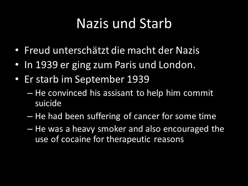 Nazis und Starb Freud unterschätzt die macht der Nazis In 1939 er ging zum Paris und London.