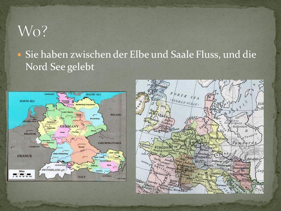 Sie haben zwischen der Elbe und Saale Fluss, und die Nord See gelebt