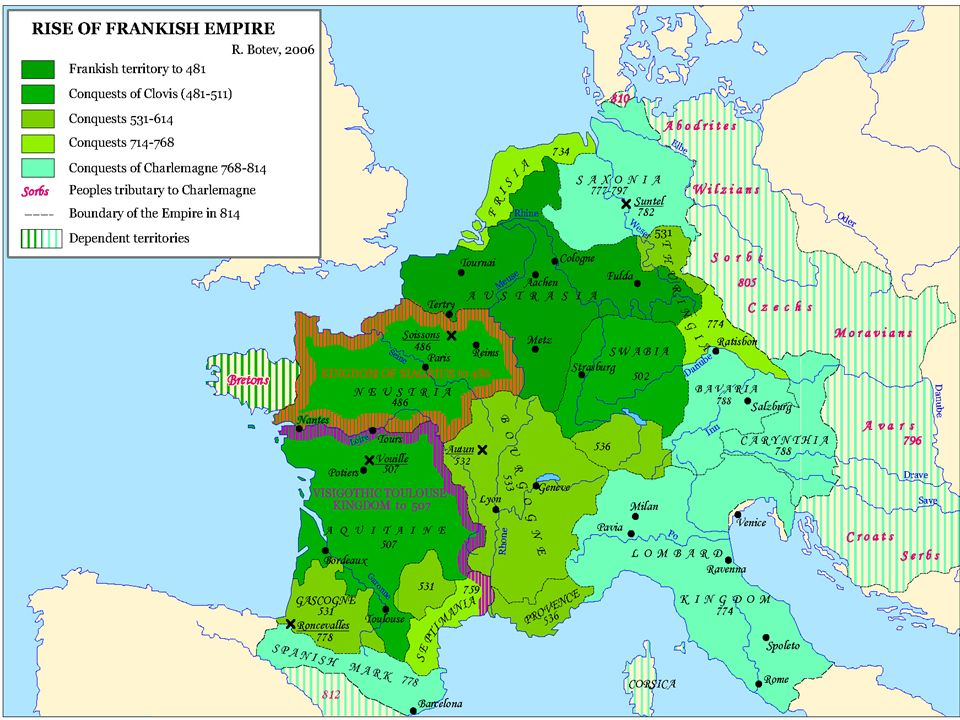 http://www.jrank.org/history/pages/6096/Franks-Frankish- Empire.html http://www.jrank.org/history/pages/6096/Franks-Frankish- Empire.html http://en.wikipedia.org/wiki/Old_Frankish http://www.historyworld.net/wrldhis/PlainTextHistories.asp?h istoryid=ab74 http://www.historyworld.net/wrldhis/PlainTextHistories.asp?h istoryid=ab74 http://en.wikipedia.org/wiki/Franks http://www.fofweb.com/NuHistory/MainPrintPage.asp?iPin= WHII095&DataType=Ancient&WinType=Free http://www.fofweb.com/NuHistory/MainPrintPage.asp?iPin= WHII095&DataType=Ancient&WinType=Free http://www.fofweb.com/NuHistory/default.asp?ItemID=WE49 &NewItemID=True http://www.fofweb.com/NuHistory/default.asp?ItemID=WE49 &NewItemID=True http://www.thenagain.info/webchron/westeurope/Franks.htm l http://www.thenagain.info/webchron/westeurope/Franks.htm l http://www.newadvent.org/cathen/06238a.htm http://www.tacitus.nu/historical-atlas/francia.htm BEZÜGE
