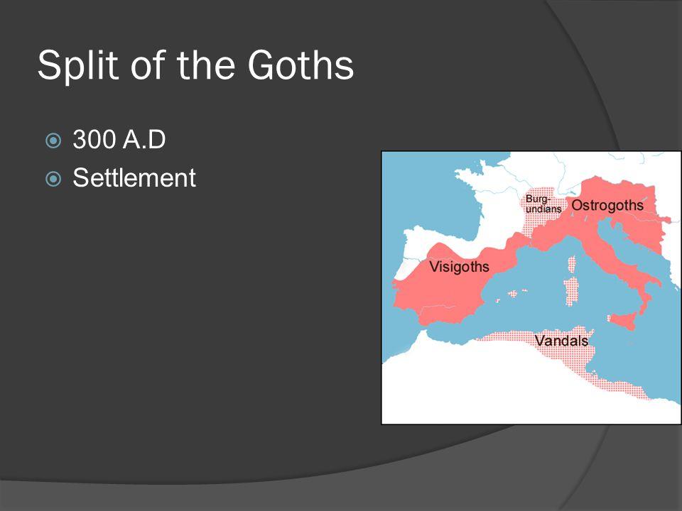 Split of the Goths 300 A.D Settlement