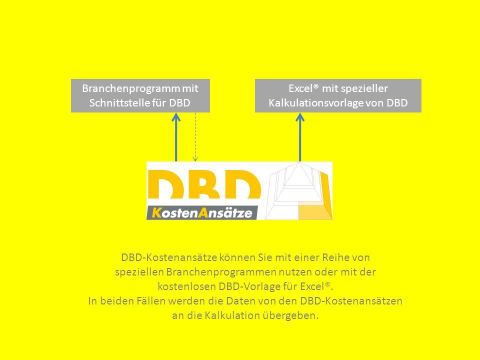 Branchenprogramm mit Schnittstelle für DBD Excel® mit spezieller Kalkulationsvorlage von DBD DBD-Kostenansätze können Sie mit einer Reihe von speziell