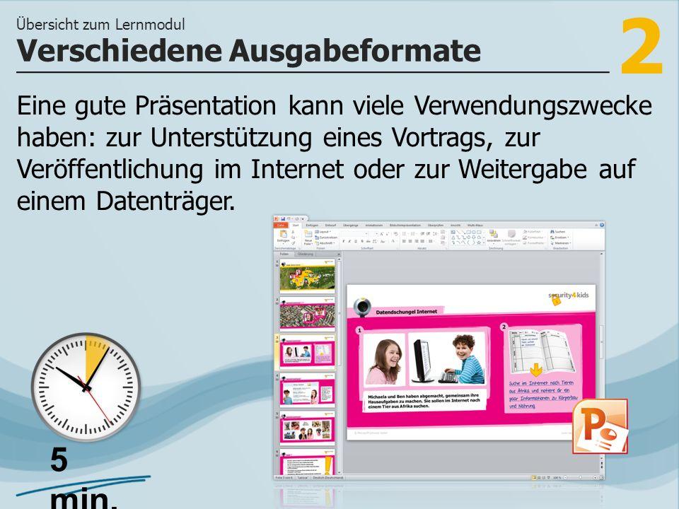 2 Eine gute Präsentation kann viele Verwendungszwecke haben: zur Unterstützung eines Vortrags, zur Veröffentlichung im Internet oder zur Weitergabe auf einem Datenträger.