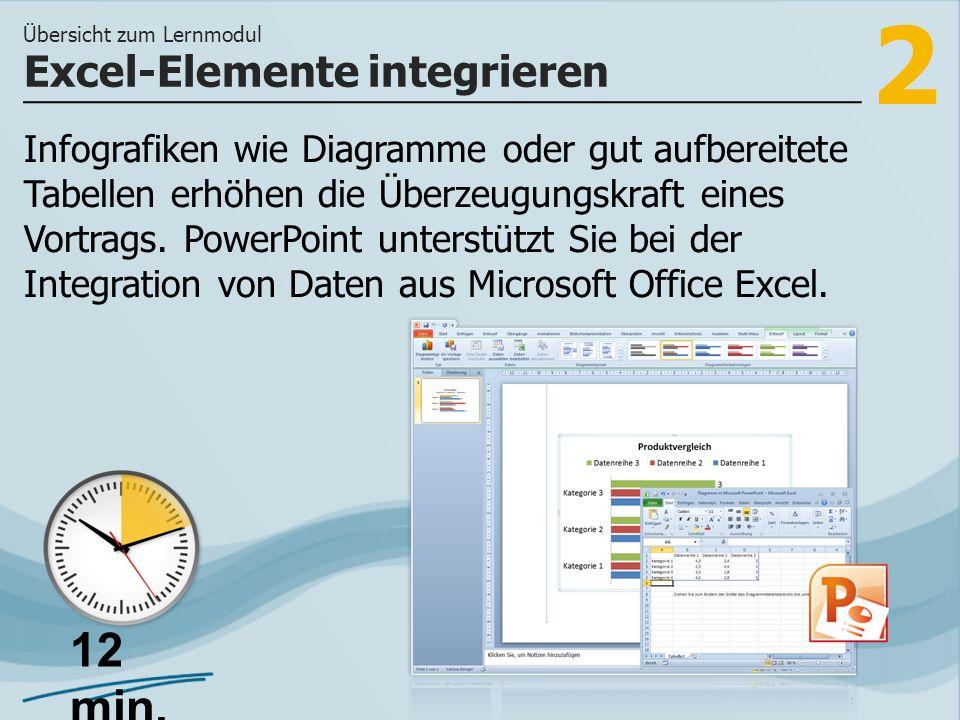2 Infografiken wie Diagramme oder gut aufbereitete Tabellen erhöhen die Überzeugungskraft eines Vortrags. PowerPoint unterstützt Sie bei der Integrati