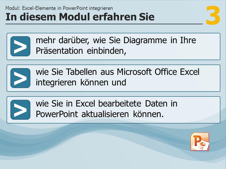 3 >> wie Sie Tabellen aus Microsoft Office Excel integrieren können und wie Sie in Excel bearbeitete Daten in PowerPoint aktualisieren können. In dies