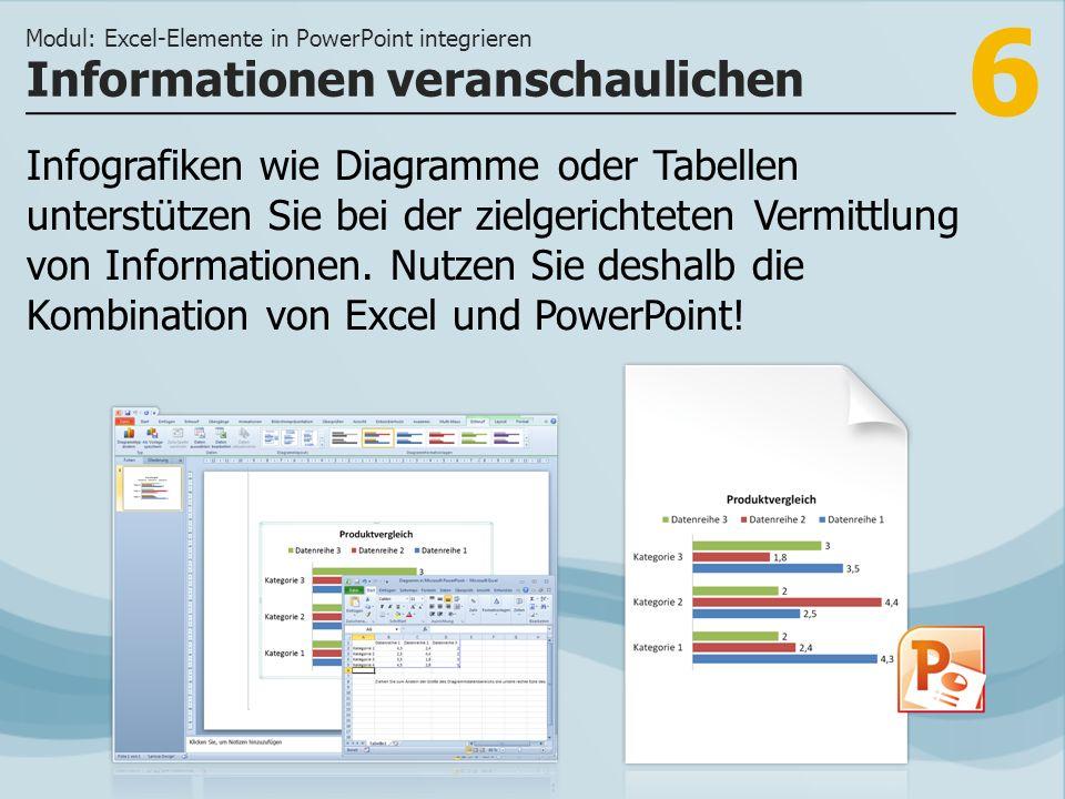 6 Infografiken wie Diagramme oder Tabellen unterstützen Sie bei der zielgerichteten Vermittlung von Informationen. Nutzen Sie deshalb die Kombination