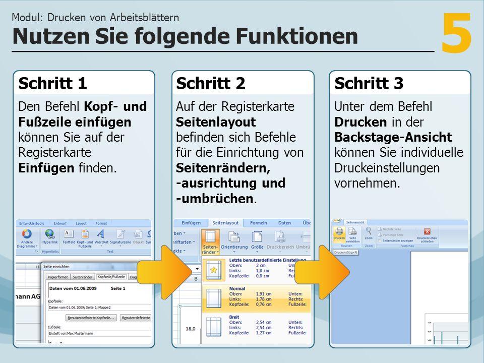 5 Schritt 1 Den Befehl Kopf- und Fußzeile einfügen können Sie auf der Registerkarte Einfügen finden.