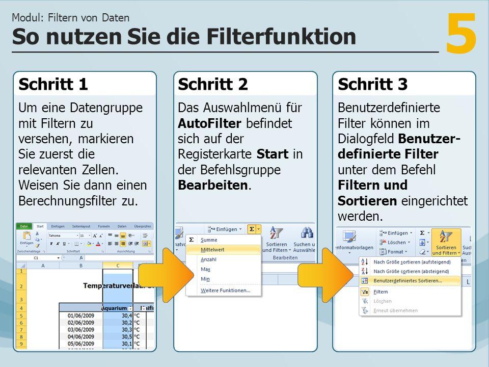 5 Schritt 1 Um eine Datengruppe mit Filtern zu versehen, markieren Sie zuerst die relevanten Zellen. Weisen Sie dann einen Berechnungsfilter zu. Schri