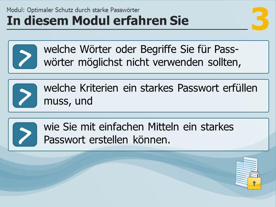 3 >> welche Kriterien ein starkes Passwort erfüllen muss, und wie Sie mit einfachen Mitteln ein starkes Passwort erstellen können. In diesem Modul erf