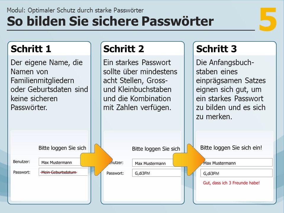 5 Schritt 1 Der eigene Name, die Namen von Familienmitgliedern oder Geburtsdaten sind keine sicheren Passwörter. Schritt 2Schritt 3 Ein starkes Passwo