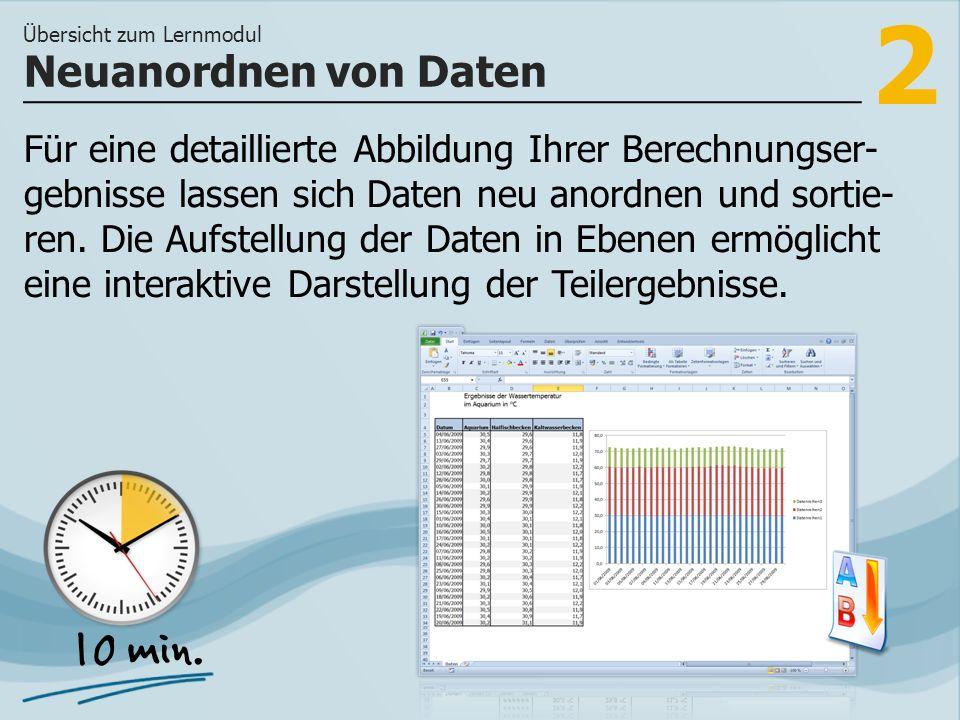 2 Für eine detaillierte Abbildung Ihrer Berechnungser- gebnisse lassen sich Daten neu anordnen und sortie- ren.