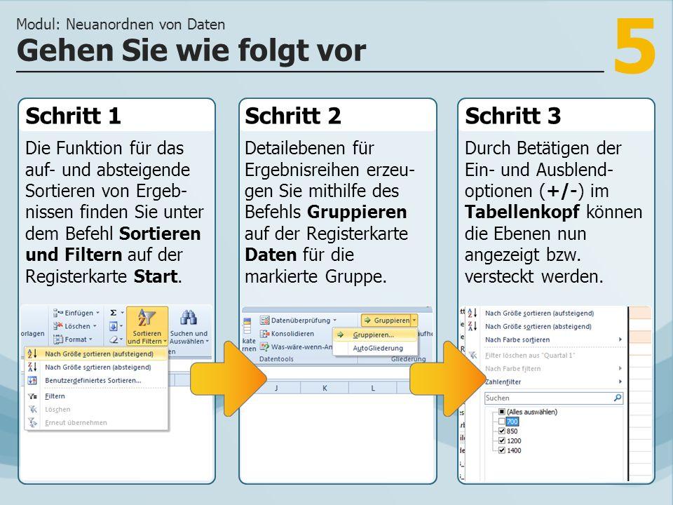 5 Schritt 1 Die Funktion für das auf- und absteigende Sortieren von Ergeb- nissen finden Sie unter dem Befehl Sortieren und Filtern auf der Registerkarte Start.