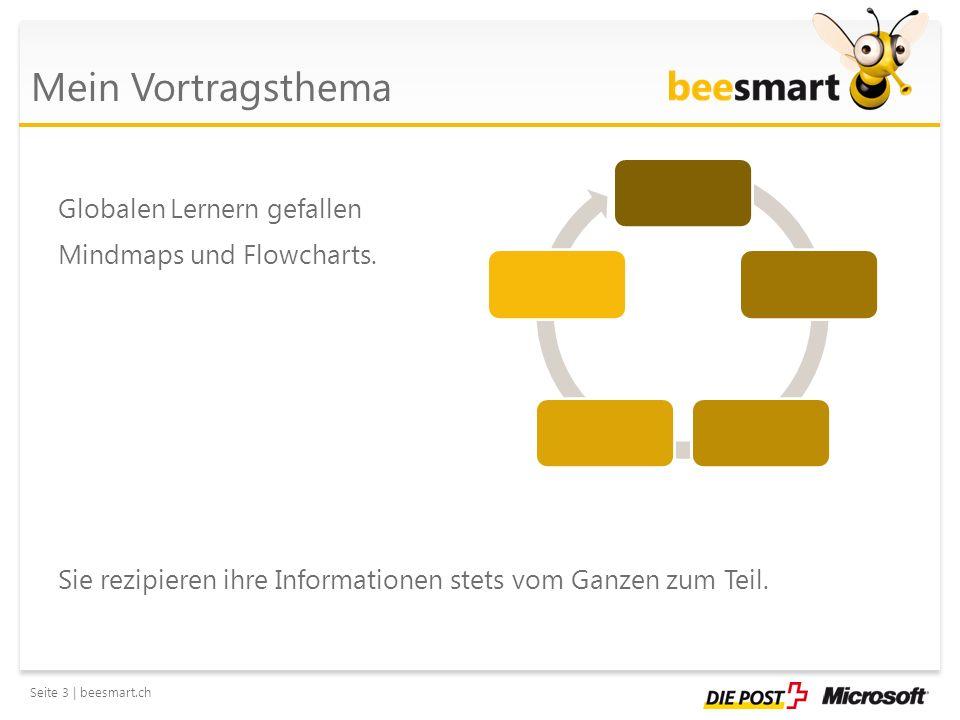 Seite 4 | beesmart.ch Mein Vortragsthema Nutzen Sie die vielseitigen Vorlagen aus Microsoft Office PowerPoint, wie etwa SmartArt-Tools, Diagrammvorlagen oder ClipArts.