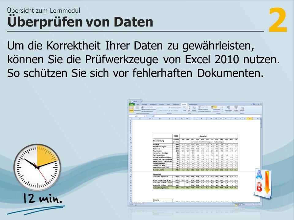 2 Um die Korrektheit Ihrer Daten zu gewährleisten, können Sie die Prüfwerkzeuge von Excel 2010 nutzen.