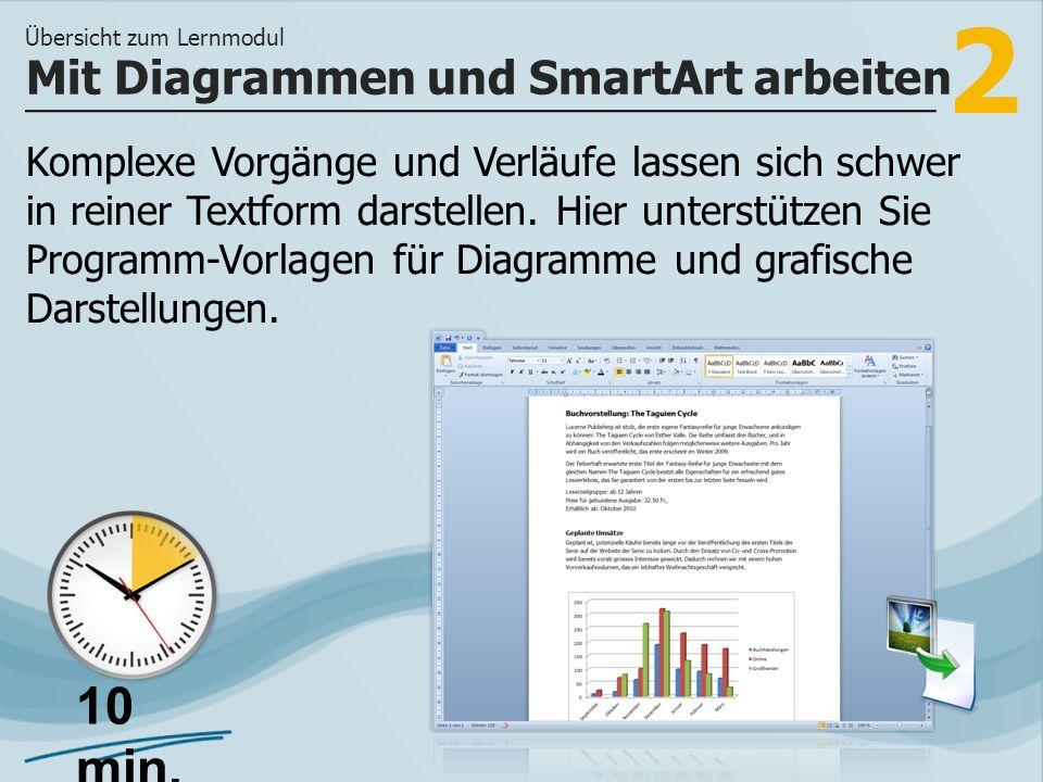 2 Komplexe Vorgänge und Verläufe lassen sich schwer in reiner Textform darstellen. Hier unterstützen Sie Programm-Vorlagen für Diagramme und grafische
