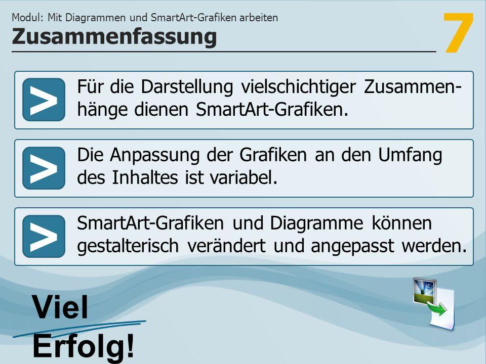 7 >>> Für die Darstellung vielschichtiger Zusammen- hänge dienen SmartArt-Grafiken. Die Anpassung der Grafiken an den Umfang des Inhaltes ist variabel