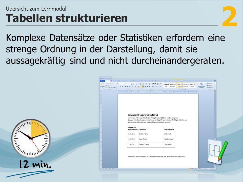 2 Komplexe Datensätze oder Statistiken erfordern eine strenge Ordnung in der Darstellung, damit sie aussagekräftig sind und nicht durcheinandergeraten.