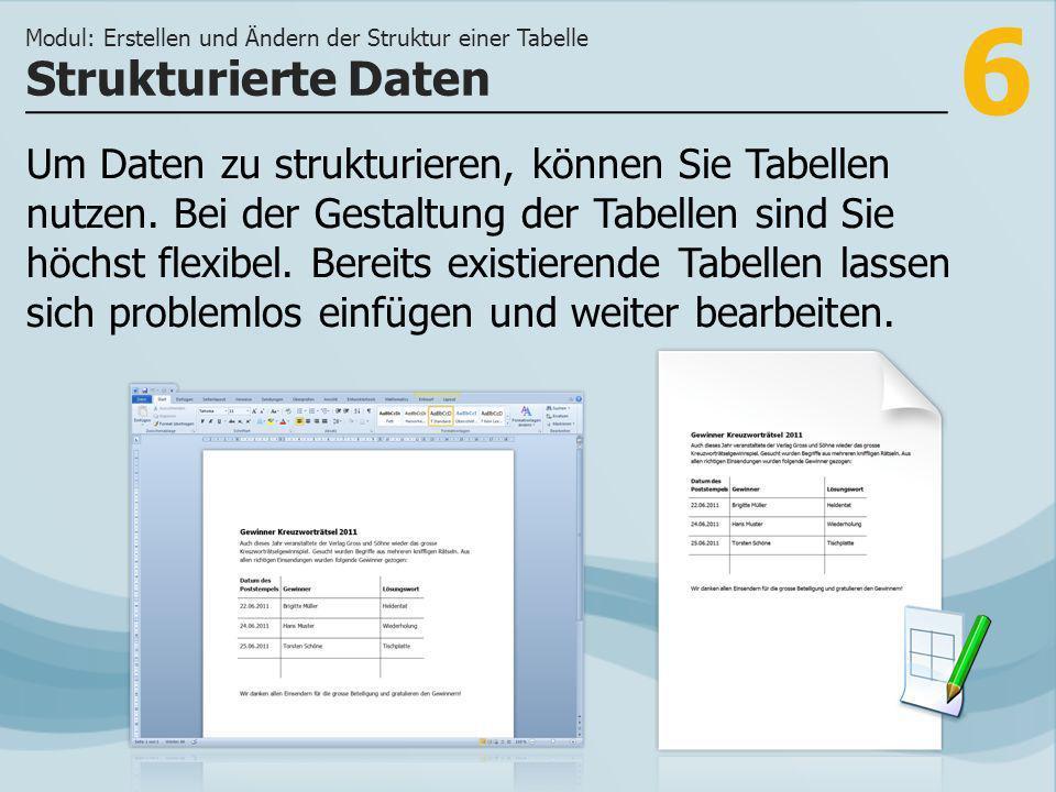 6 Strukturierte Daten Modul: Erstellen und Ändern der Struktur einer Tabelle Um Daten zu strukturieren, können Sie Tabellen nutzen.