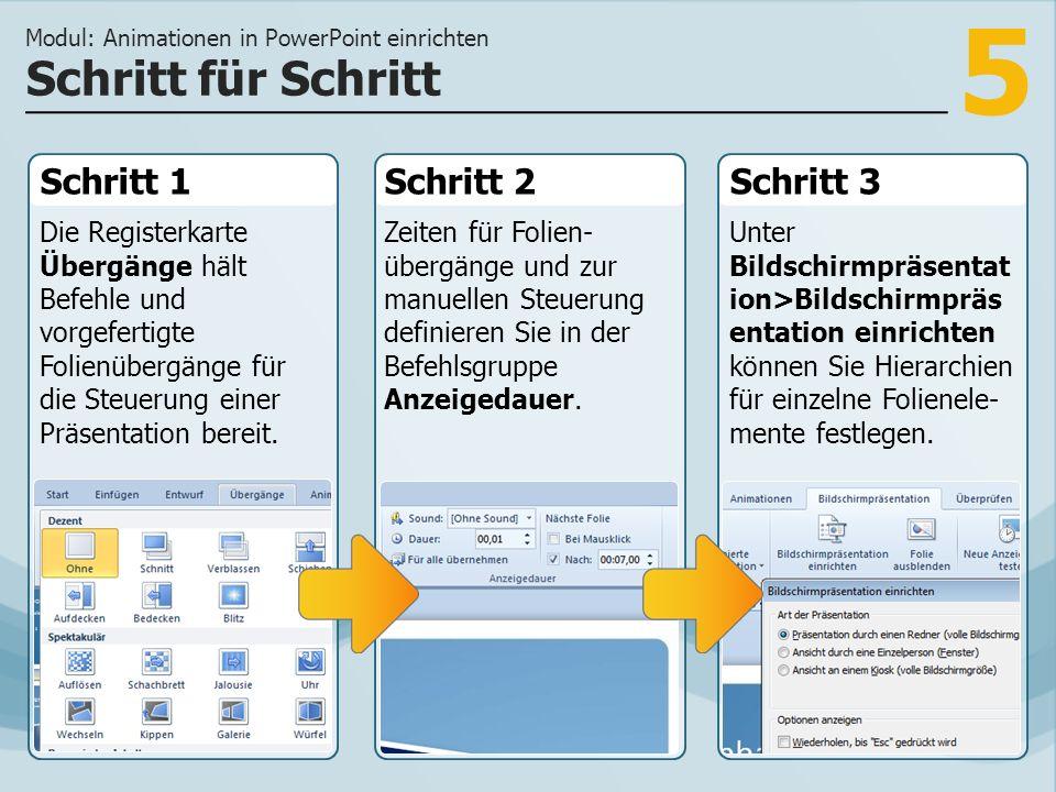 5 Schritt 1 Die Registerkarte Übergänge hält Befehle und vorgefertigte Folienübergänge für die Steuerung einer Präsentation bereit.