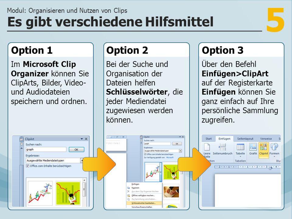 5 Option 1 Im Microsoft Clip Organizer können Sie ClipArts, Bilder, Video- und Audiodateien speichern und ordnen.