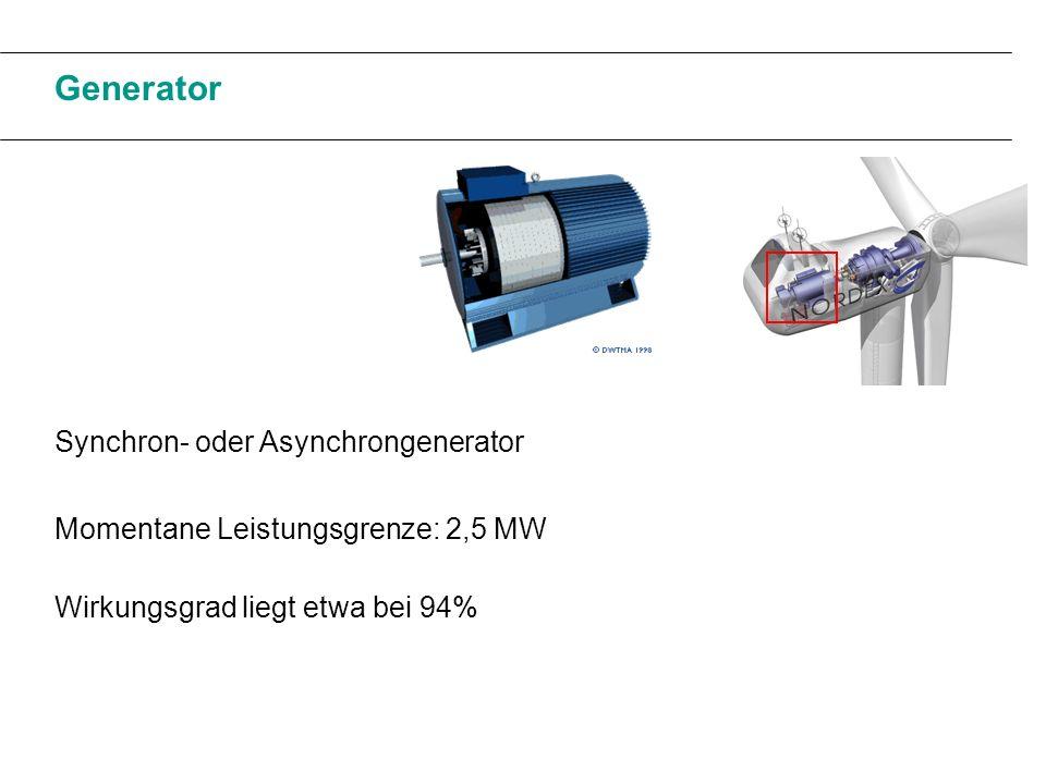 Synchron- oder Asynchrongenerator Momentane Leistungsgrenze: 2,5 MW Wirkungsgrad liegt etwa bei 94%