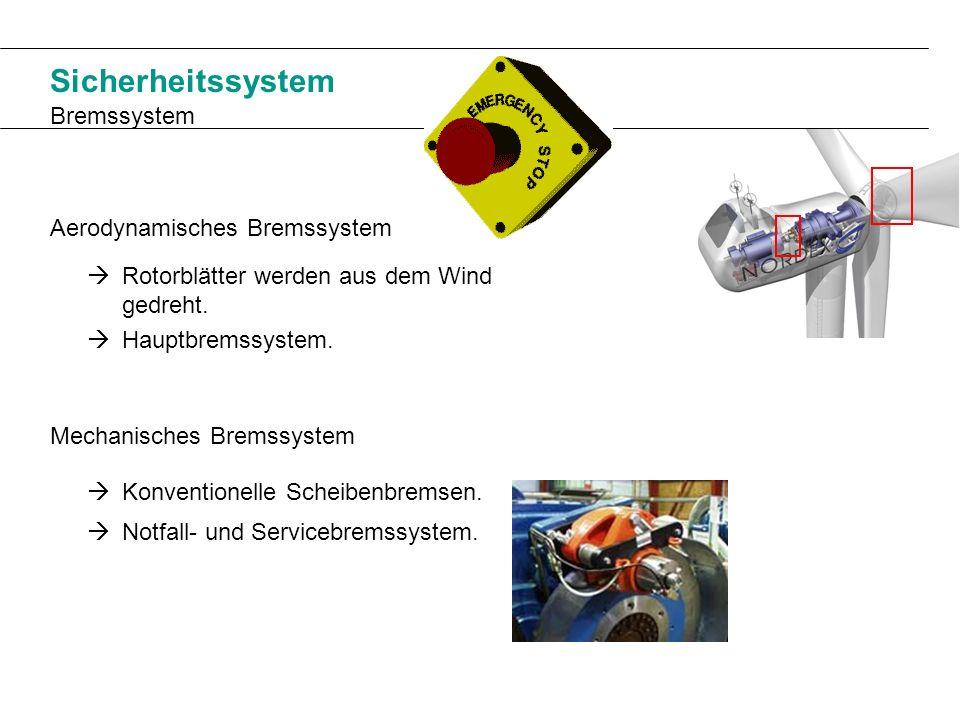 Sicherheitssystem Bremssystem Aerodynamisches Bremssystem Mechanisches Bremssystem Rotorblätter werden aus dem Wind gedreht. Hauptbremssystem. Notfall