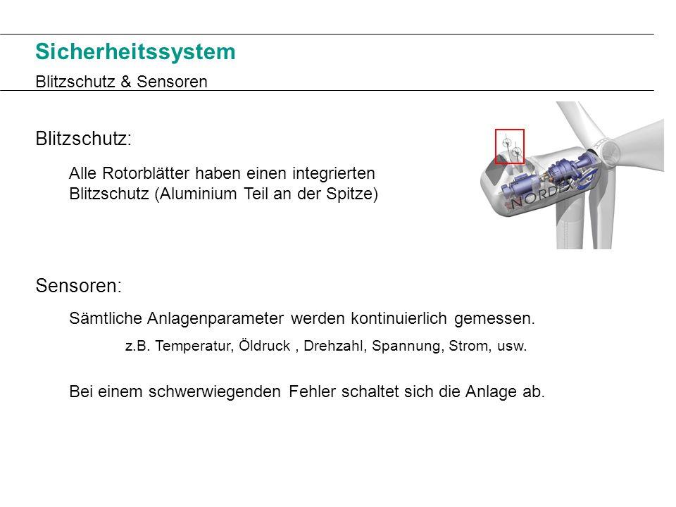 Sicherheitssystem Blitzschutz & Sensoren Blitzschutz: Alle Rotorblätter haben einen integrierten Blitzschutz (Aluminium Teil an der Spitze) Sensoren: