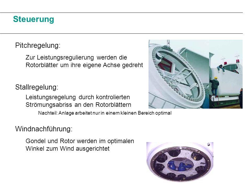 Steuerung Pitchregelung: Stallregelung: Windnachführung: Zur Leistungsregulierung werden die Rotorblätter um ihre eigene Achse gedreht Leistungsregelu