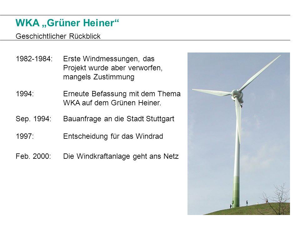 WKA Grüner Heiner Geschichtlicher Rückblick 1982-1984: Feb. 2000: Sep. 1994: 1997: 1994: Erste Windmessungen, das Projekt wurde aber verworfen, mangel