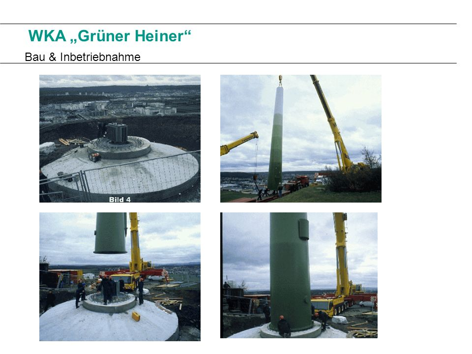 Technische Daten: Nennleistung:500 kW Rotordurchmesser:40m Nabenhöhe:43m Nennwindgeschwindigkeit:13,0 m/s