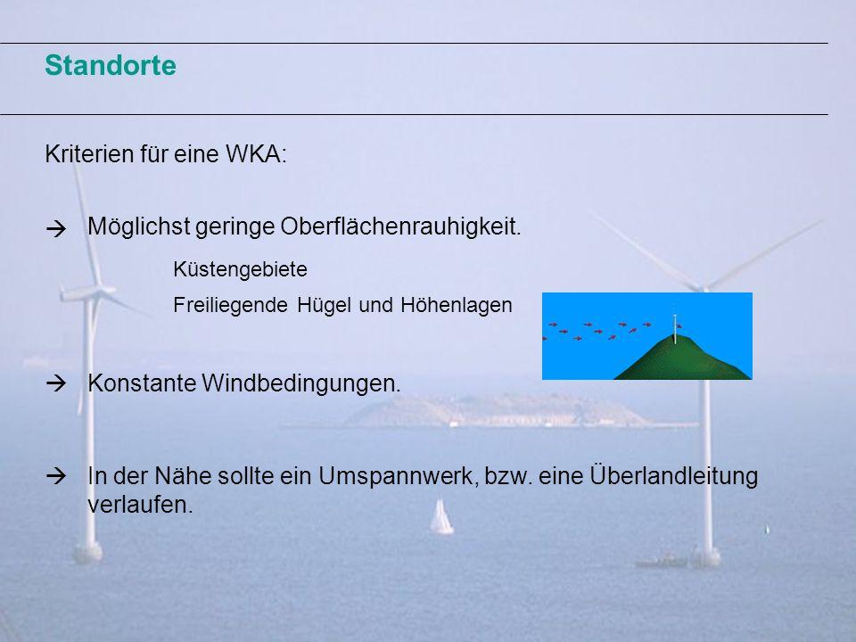 Standorte Kriterien für eine WKA: Möglichst geringe Oberflächenrauhigkeit. Freiliegende Hügel und Höhenlagen Konstante Windbedingungen. Küstengebiete