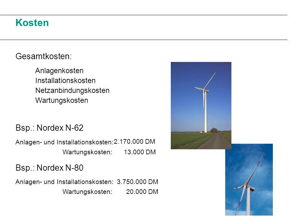 Kosten Gesamtkosten: Anlagenkosten Installationskosten Netzanbindungskosten Wartungskosten Bsp.: Nordex N-62 Bsp.: Nordex N-80 Anlagen- und Installati