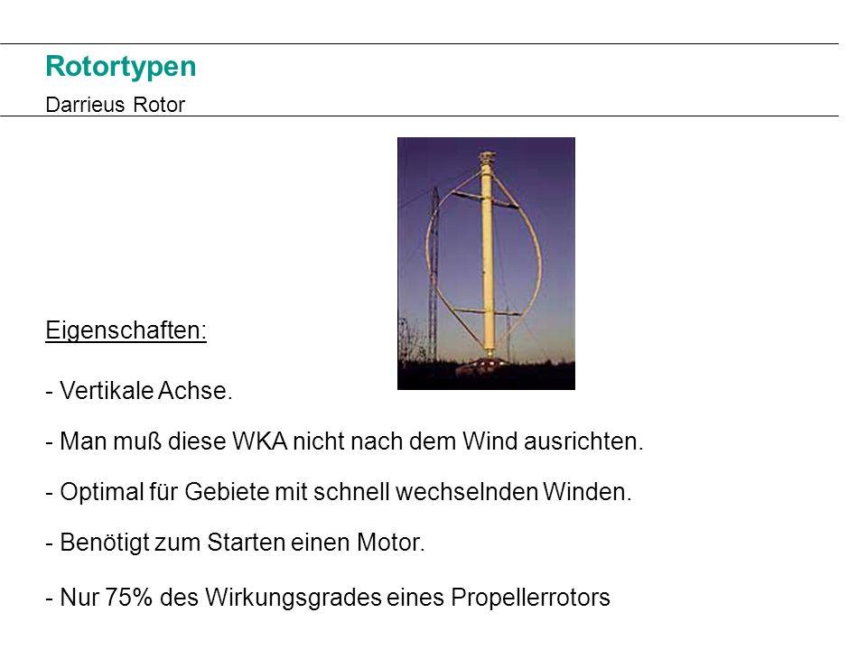 Rotortypen Darrieus Rotor Eigenschaften: - Vertikale Achse. - Man muß diese WKA nicht nach dem Wind ausrichten. - Benötigt zum Starten einen Motor. -
