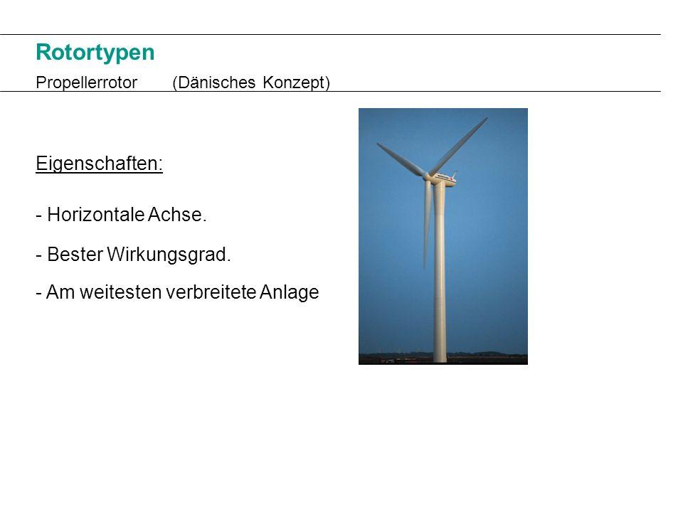 Rotortypen Propellerrotor(Dänisches Konzept) Eigenschaften: - Horizontale Achse. - Bester Wirkungsgrad. - Am weitesten verbreitete Anlage