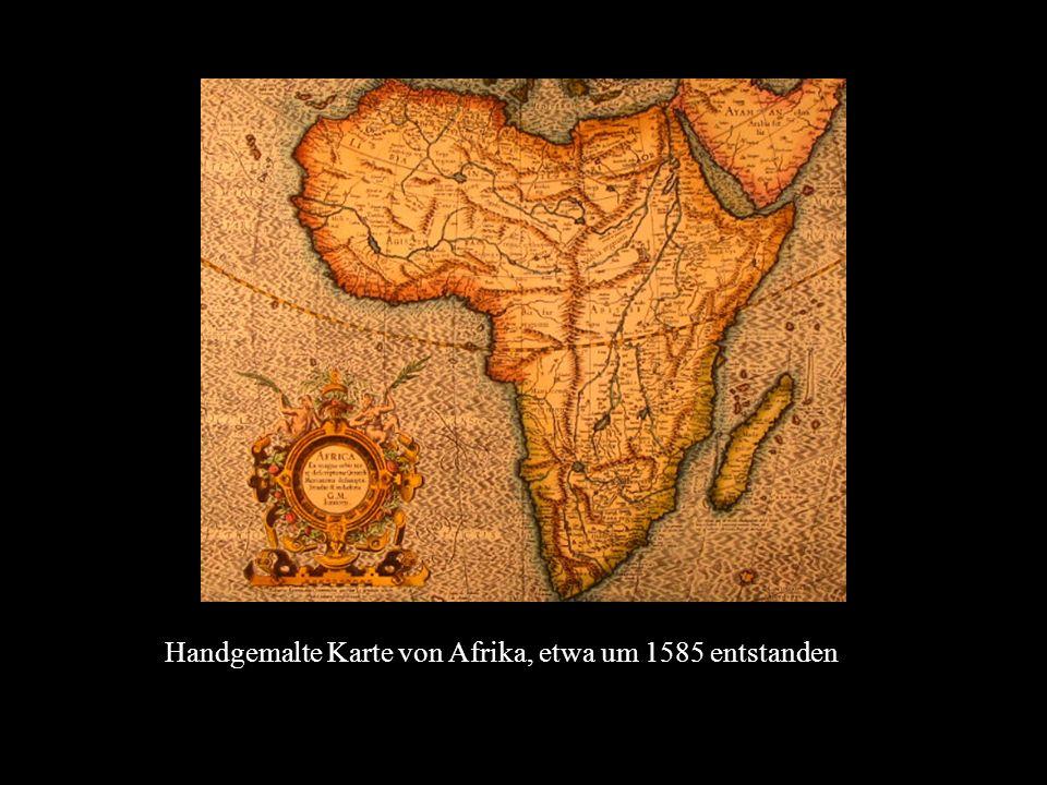 Handgemalte Karte von Afrika, etwa um 1585 entstanden