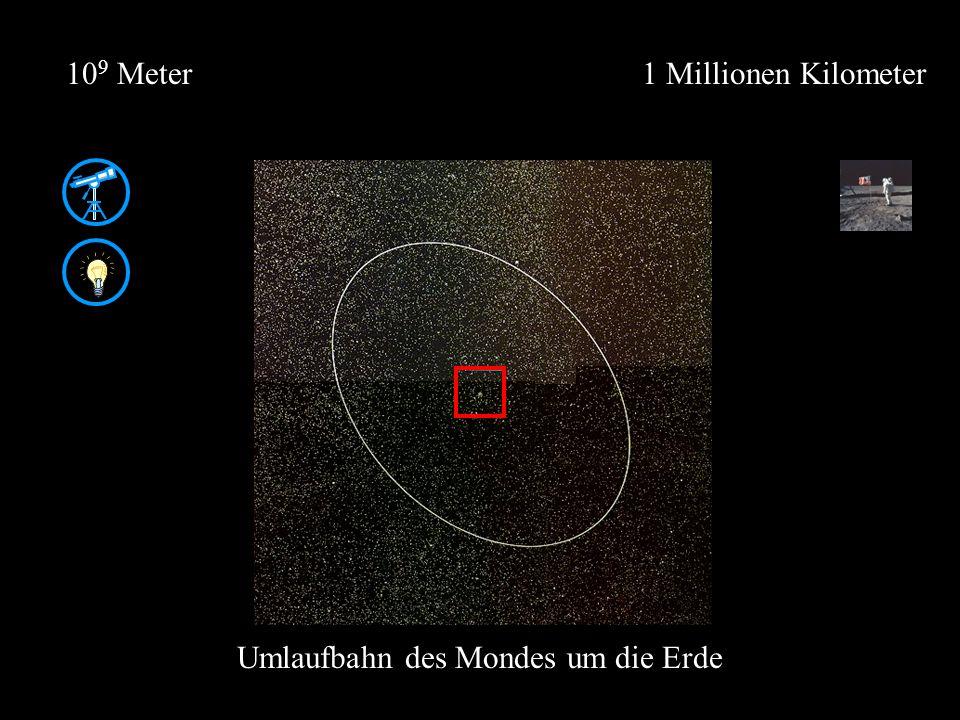 1 Millionen Kilometer10 9 Meter Umlaufbahn des Mondes um die Erde