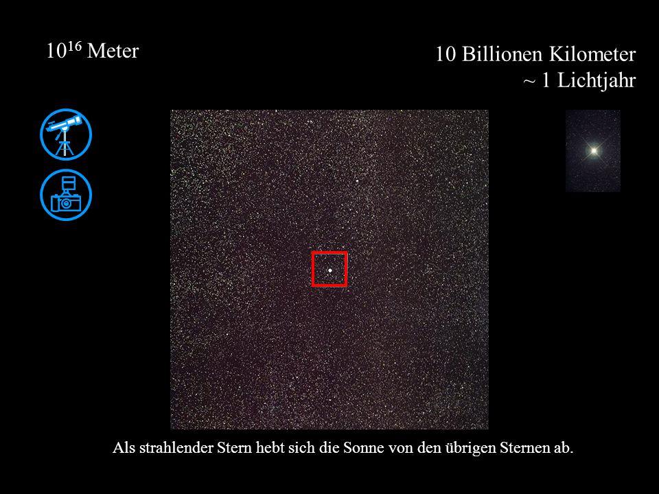 10 Billionen Kilometer ~ 1 Lichtjahr 10 16 Meter Als strahlender Stern hebt sich die Sonne von den übrigen Sternen ab.