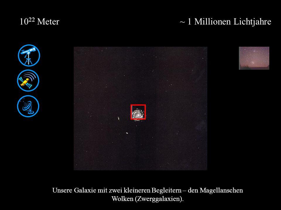 ~ 1 Millionen Lichtjahre10 22 Meter Unsere Galaxie mit zwei kleineren Begleitern – den Magellanschen Wolken (Zwerggalaxien).